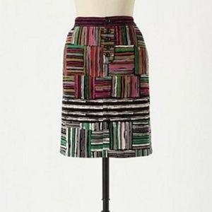 Anthropologie Odille Striped Pencil Spectrum Skirt